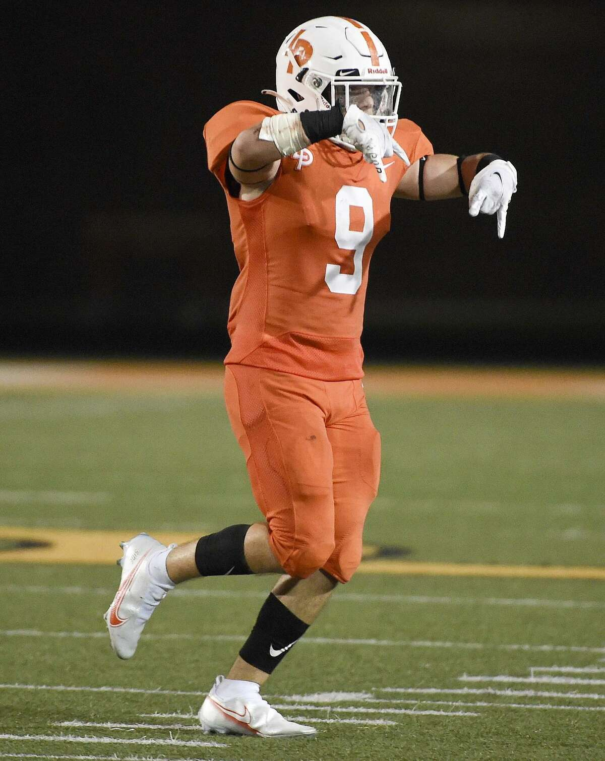 La Porte defensive back Justin Kay celebrates his fumble recovery during the second half of a high school football game against Deer Park, Friday, Sept. 25, 2020, in La Porte.