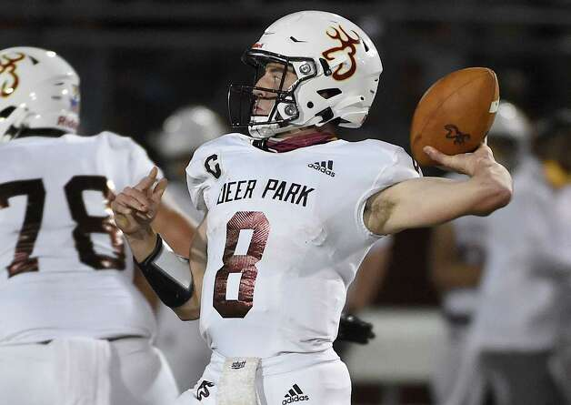 Deer Park quarterback Matthew Potts (8) throws a pass during the first half of a high school football game against La Porte, Friday, Sept. 25, 2020, in La Porte. Photo: Eric Christian Smith/Contributor