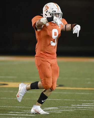 La Porte defensive back Justin Kay celebrates his fumble recovery during the second half of a high school football game against Deer Park, Friday, Sept. 25, 2020, in La Porte. Photo: Eric Christian Smith/Contributor