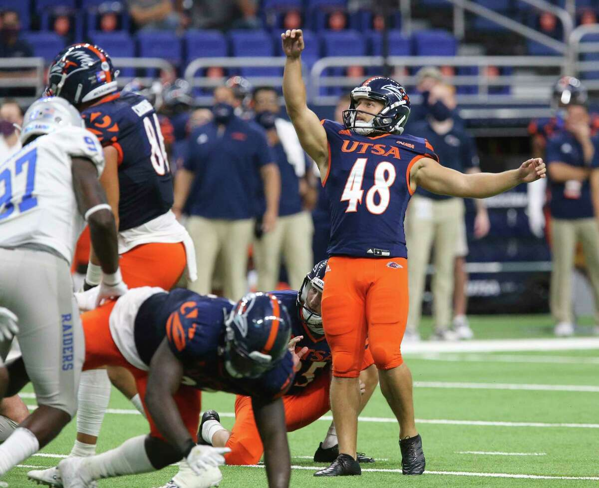 UTSA kicker Hunter Duplessis (48) watches his successful field goal attempt against Middle Tennessee during their game at the Alamodome on Friday, Sept. 25, 2020. UTSA wins, 37-35, over Middle Tennessee.