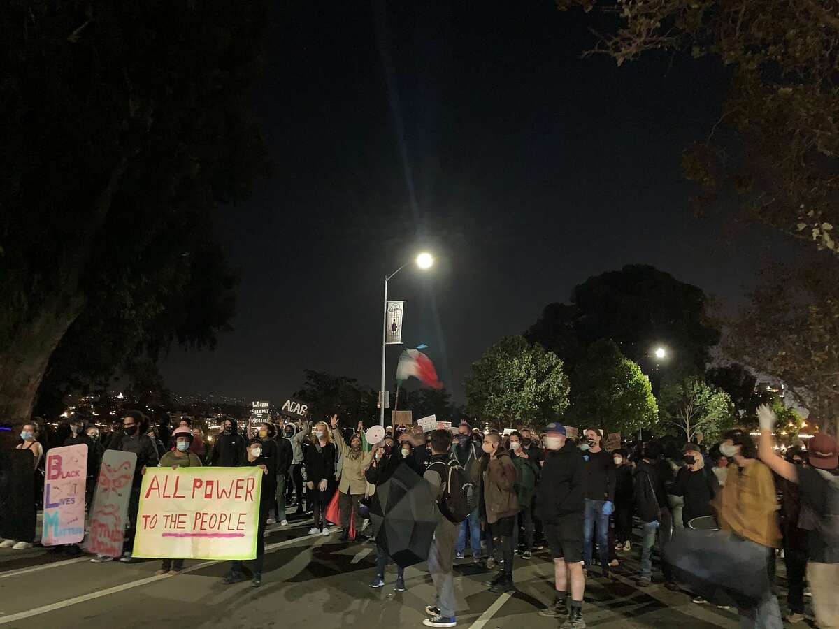 Crowds took to the streets in Oakland on Friday, Sept. 25 to protest the decision by a Kentucky grand jury not to charge any Louisville police officers with the killing of Breonna Taylor.