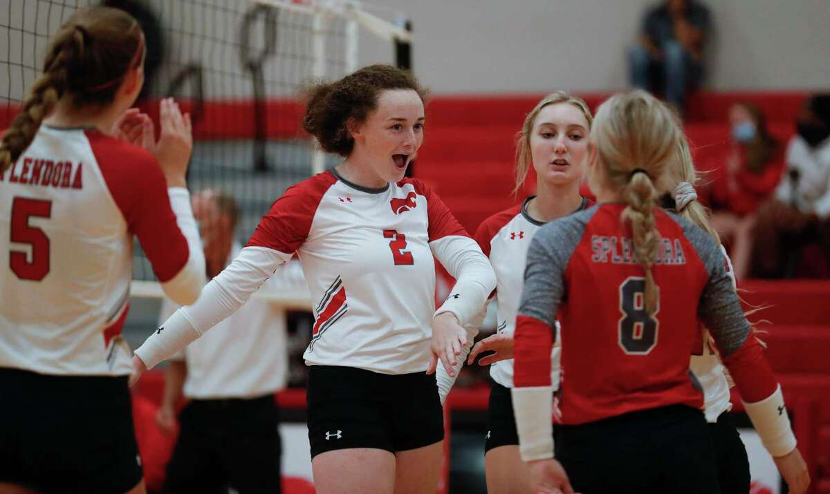 Splendora's Falon Buford (2), pictured Aug. 11,notched a double-double with 34 assists and 10 digs in the Ladykats' win over Liberty.