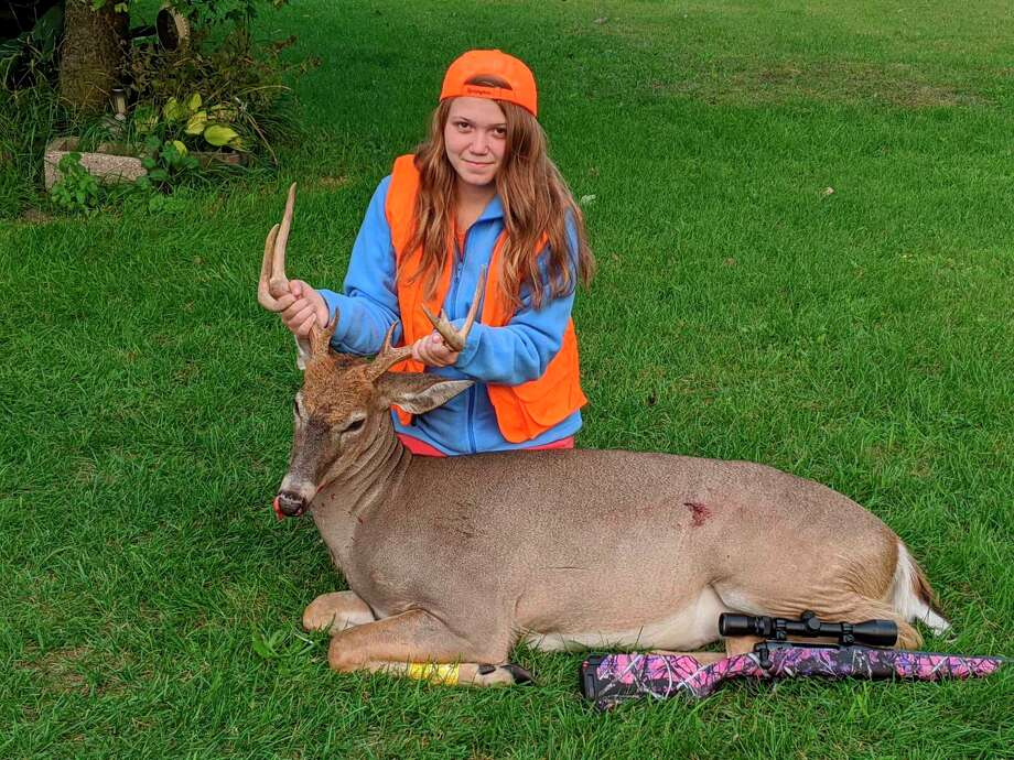 Paige Lafountain, 15, shot her 8-point buck with her .243 while hunting in Rodney on Sept. 13. (Courtesy photo)