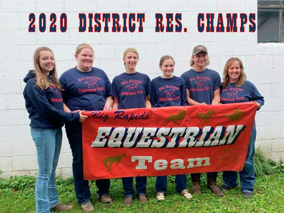 Pictured from the Big Rapids High School Equestrian Team is (from left): Assistant coach Mariah McNeilly, Chloe Quinn, Hailey Bittner, Christa Hatchew, Evan Bowen and head coach Katey Lattimore. (Courtesy photo)
