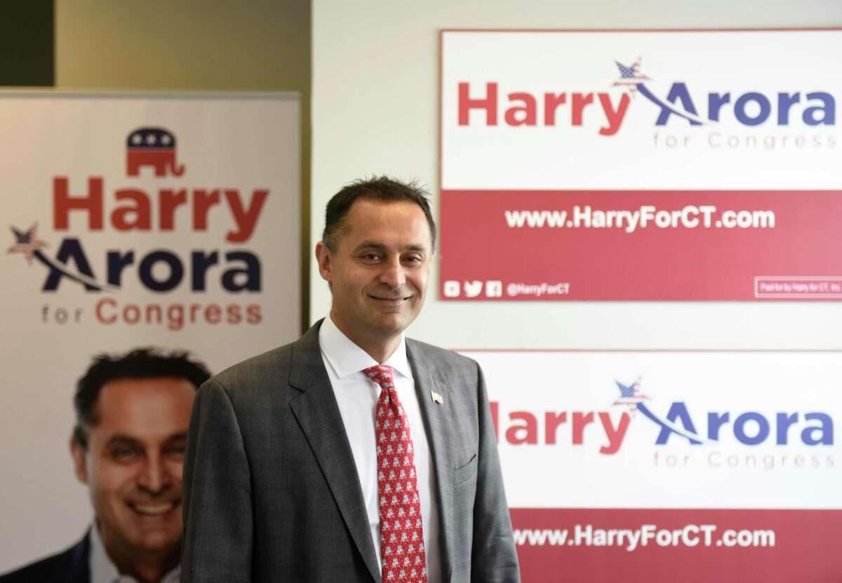Harry Arora poses at his campaign office in Greenwich, Conn. Tuesday, Oct. 2, 2018. Arora has made a career in hedge funds and energy trading with his firm, Northlander Commodity Advisors.