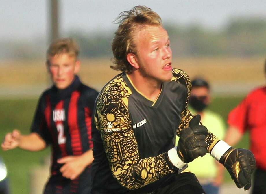 Nehemiah Parmenter, a senior at Unionville-Sebewaing Area High School, is the starting goalkeeper for the Patriots boys varsity soccer team. For Miah, as he's known to his friends, family and teammates, soccer just isn't a sport or an extracurricular activity - it's a way of life. (Tribune File Photo)