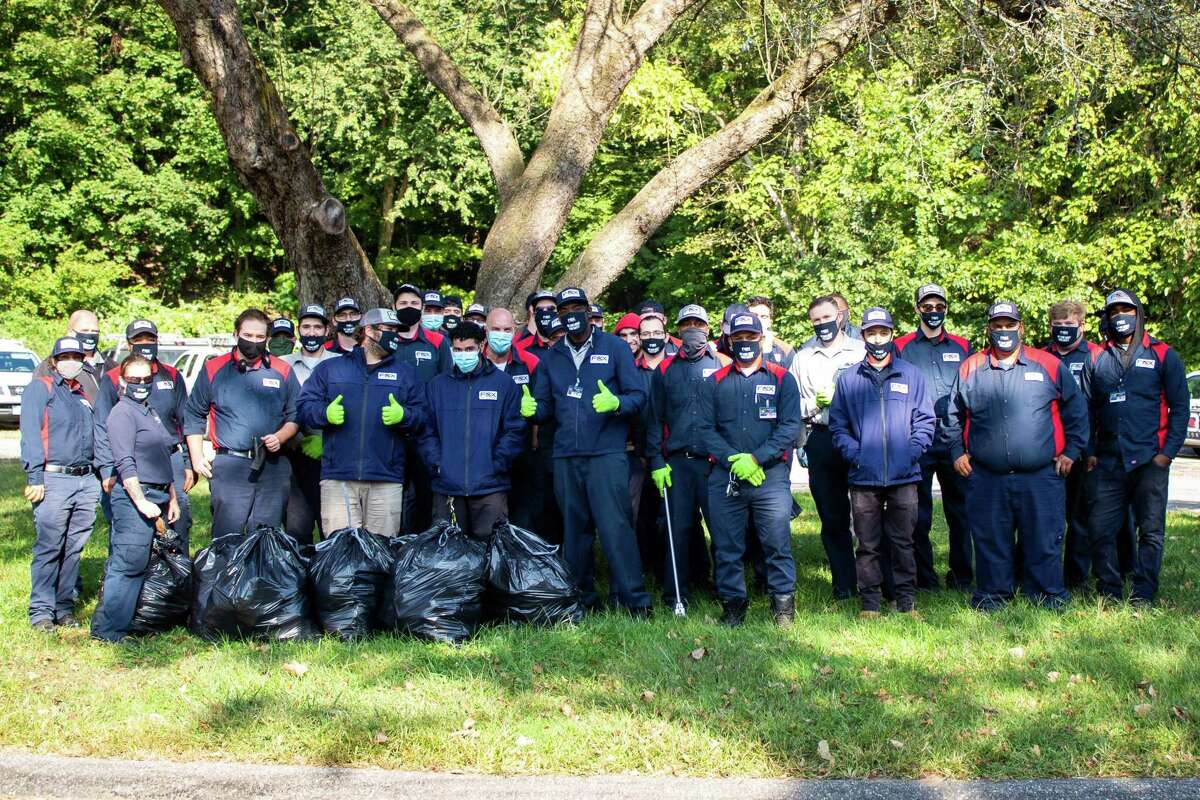 Some 50 Fox Pest Control Pest pro technicians visited Shelton Sept. 23, picking up litter from Southbank Park and the Sunnyside Boat Ramp as part of the company's annual service project.