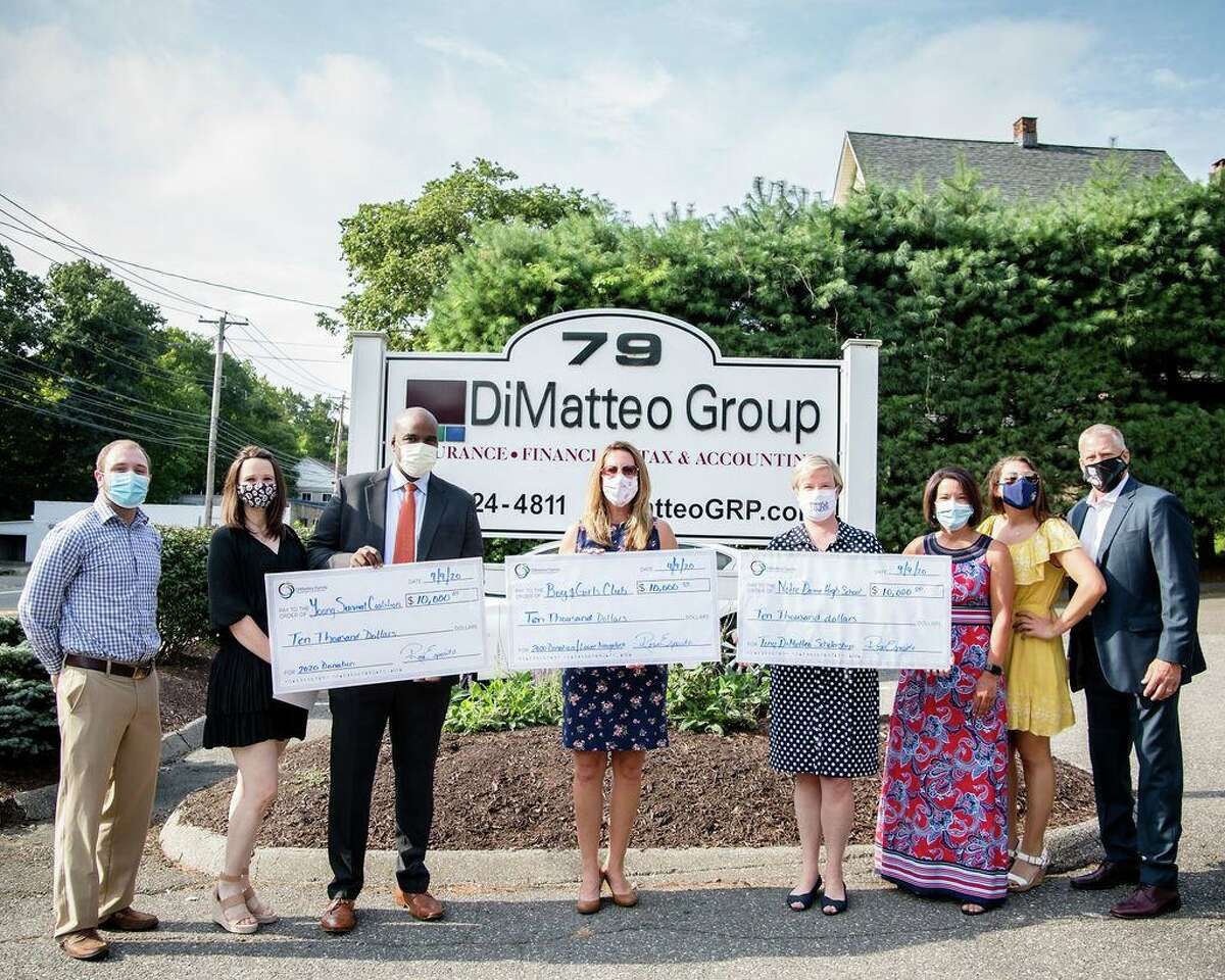 The annual DiMatteo Family Charitable Foundation Golf Tournament raised $30,000 for charities this year. Pictured are, left to right, Dave Attolino of Wallingford, DiMatteo Financial; Jamie Nickerson of New Milford, DiMatteo Group and representing Young Survival Coalition; Pablo Colon of Stratford, board member, Young Survival Coalition; Shaye Roscoe of Shelton, Executive Director, Boys and Girls Club of the Lower Naugatuck Valley, Julie Coyle Davis of Stratford, Advancement Director, Notre Dame High School; Victoria DiMatteo of Shelton; Jessica DiMatteo of Bethany; and Robert Lesko of Shelton.