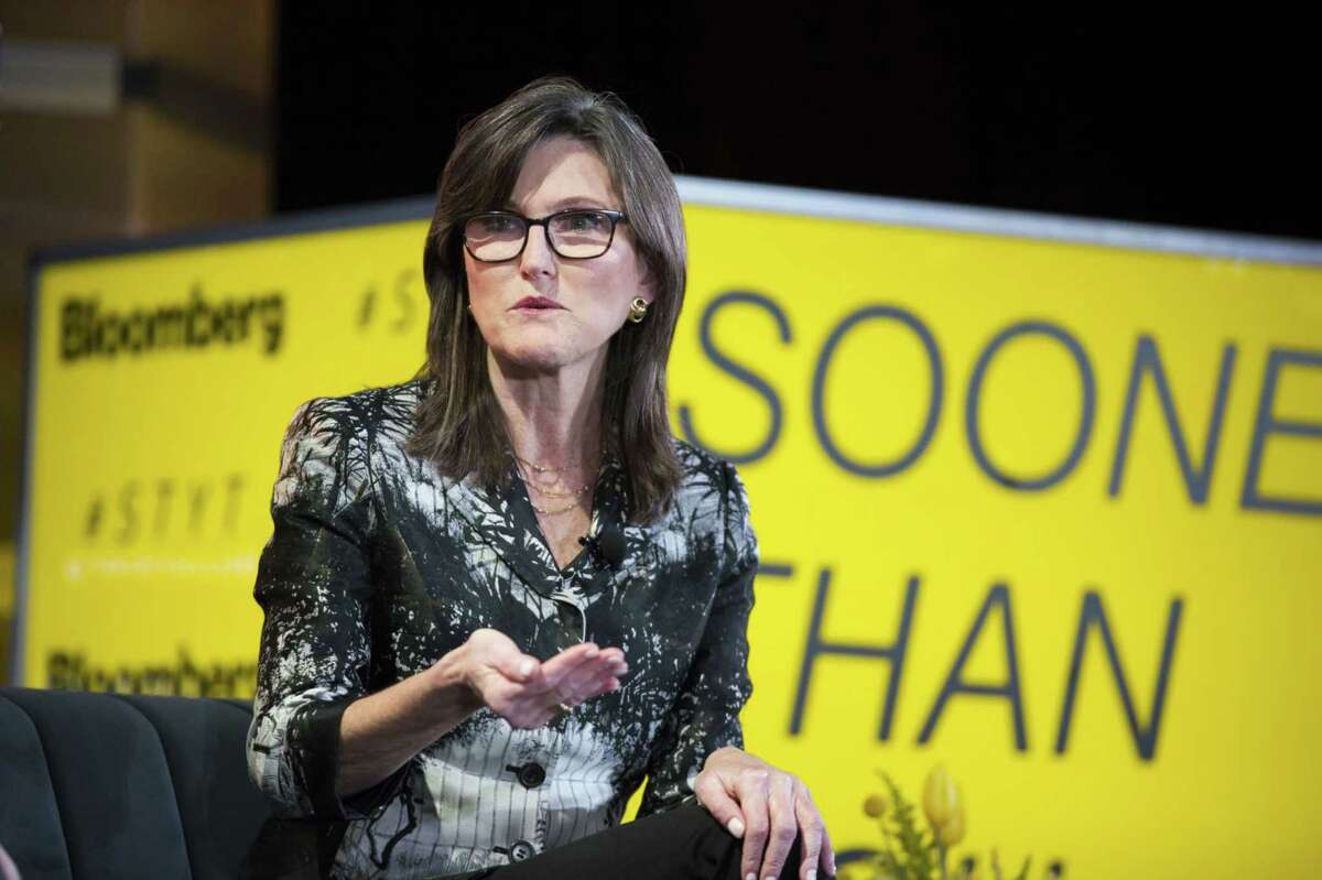 Cathie Wood, chief executive officer and chief investment officer of ARK Investment Management, during the Sooner Than You Think conference in the Brooklyn borough of New York on Oct. 16, 2018.