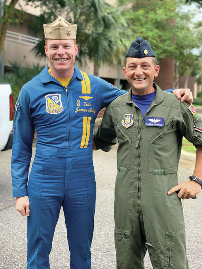 U.S. Navy Blue Angels pilot Lt. Cmdr. James Haley, left, stands with Air Force Reserve Maj. Darrin Seymour. Seymour and Haley attended flight school together. Photo: Photo By Darrin Seymour