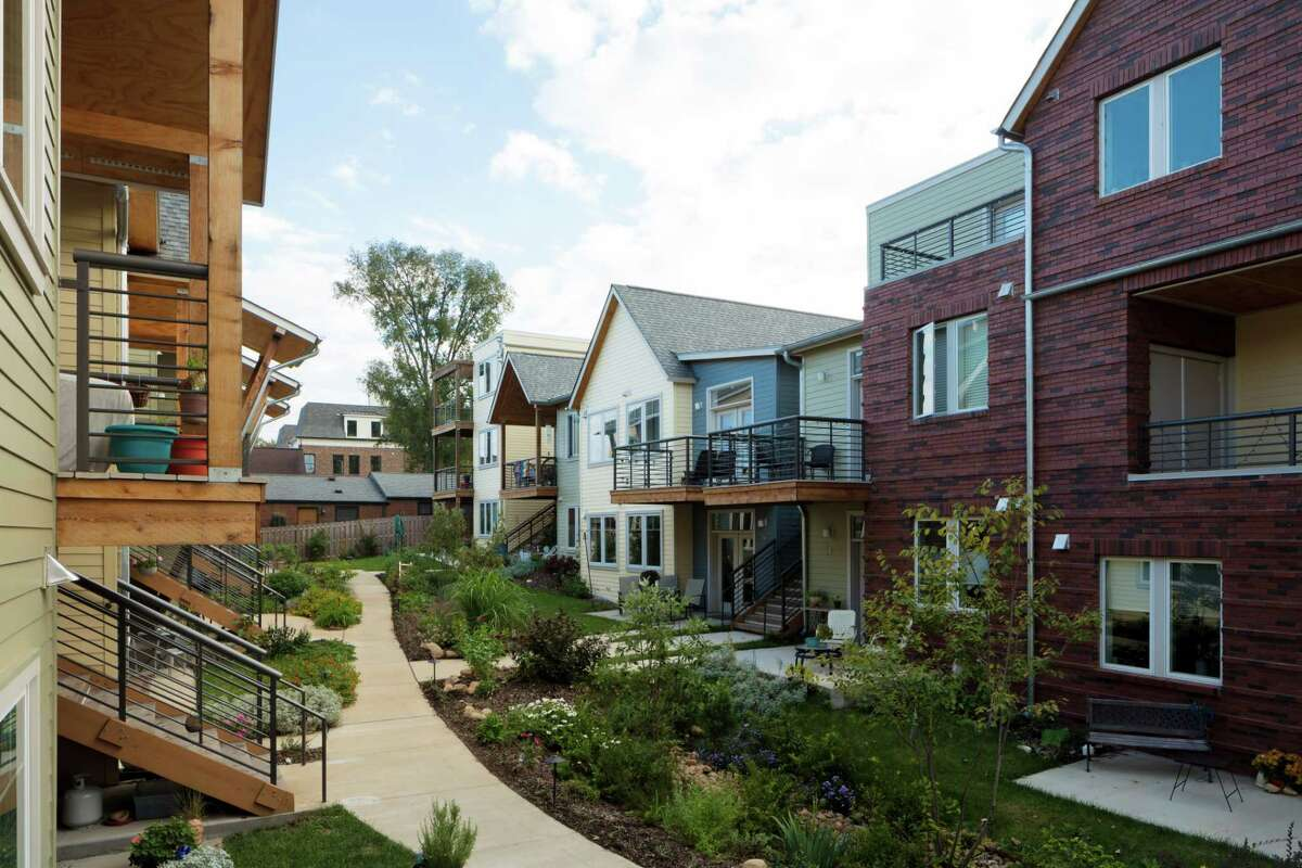 The interior courtyard at Germantown Commons Cohousing in Nashville, designed by Caddis Collaborative.