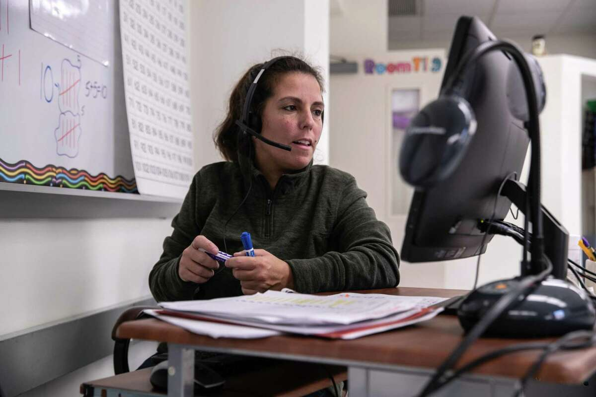 Teacher Shira Mandel instructs first grade students during a remote learning class at Stark Elementary School on September 16, 2020 in Stamford, Connecticut.