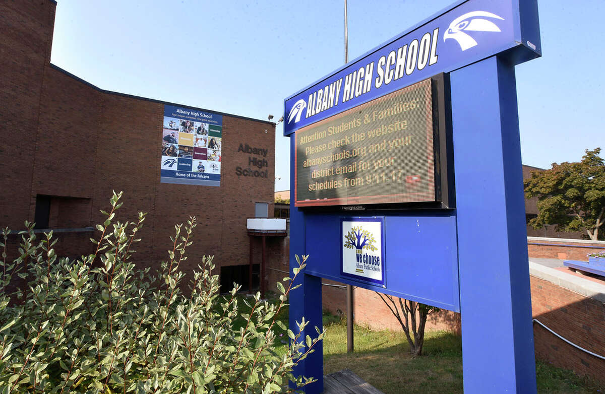 Exterior of Albany High School on Friday, Sept. 25, 2020 in Albany, N.Y. (Lori Van Buren/Times Union)