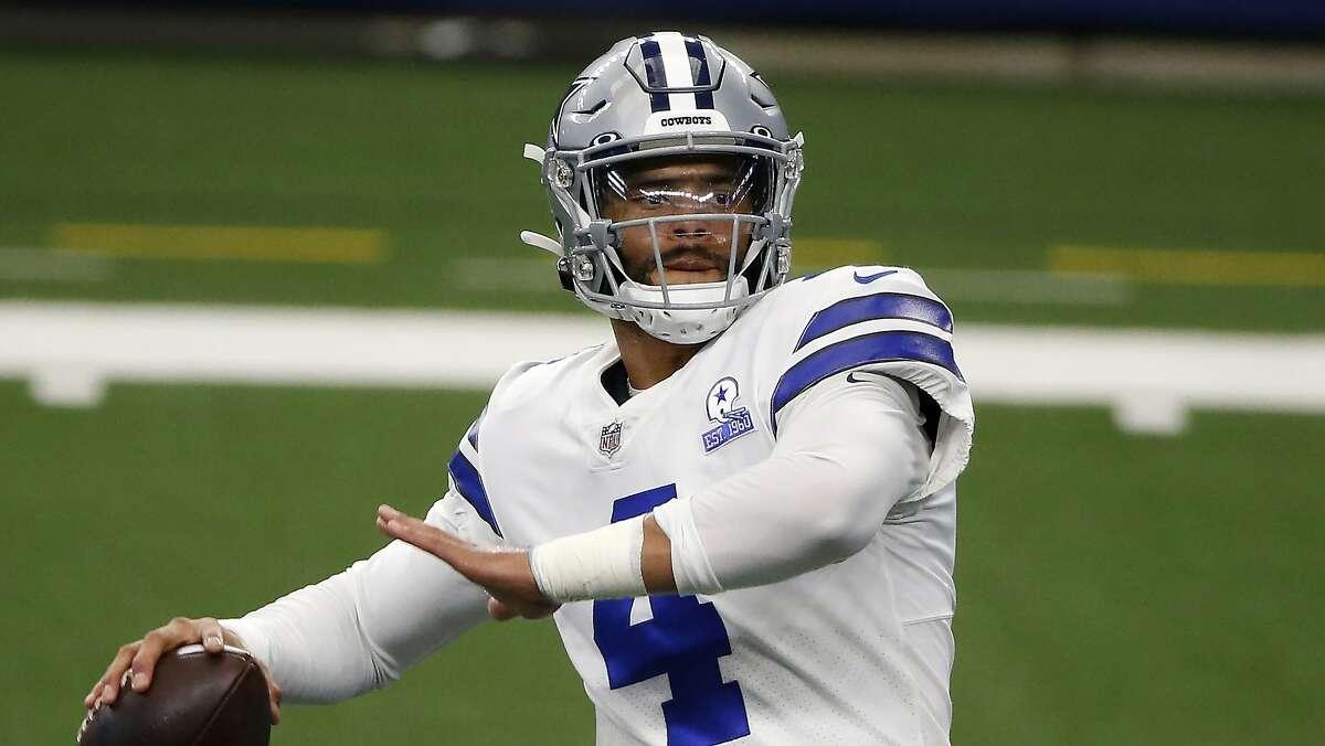 Dallas Cowboys quarterback Dak Prescott (4) warms up before an NFL football game against the Atlanta Falcons in Arlington, Texas, Sunday, Sept. 20, 2020. (AP Photo/Michael Ainsworth)