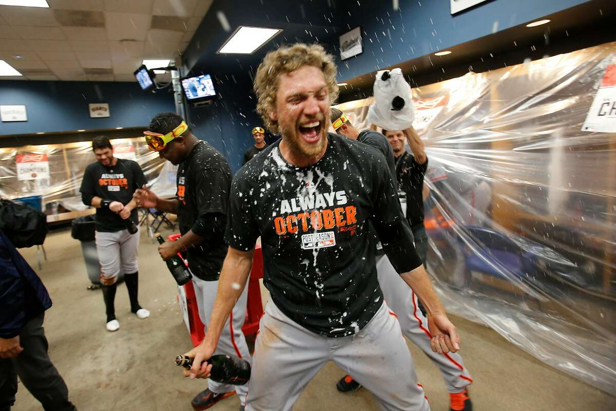 Hunter Pence and the Giants celebrated after beating the Pirates in a 2014 playoff game.