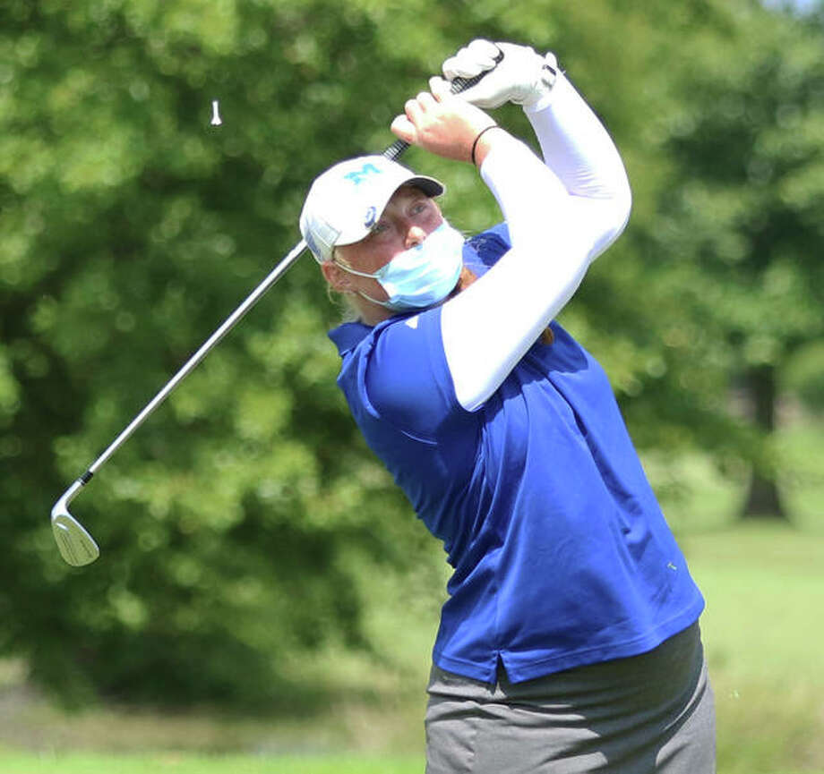 Marquette Catholic's Gracie Piar watches her shot at the Madison County Tournament on Aug. 18 at The Legacy in Granite City. Piar and the Explorers will be home in Alton for the Marquette Class 1A Regional at Spencer T. Olin on Oc.t 7. Photo: Greg Shashack / The Telegraph