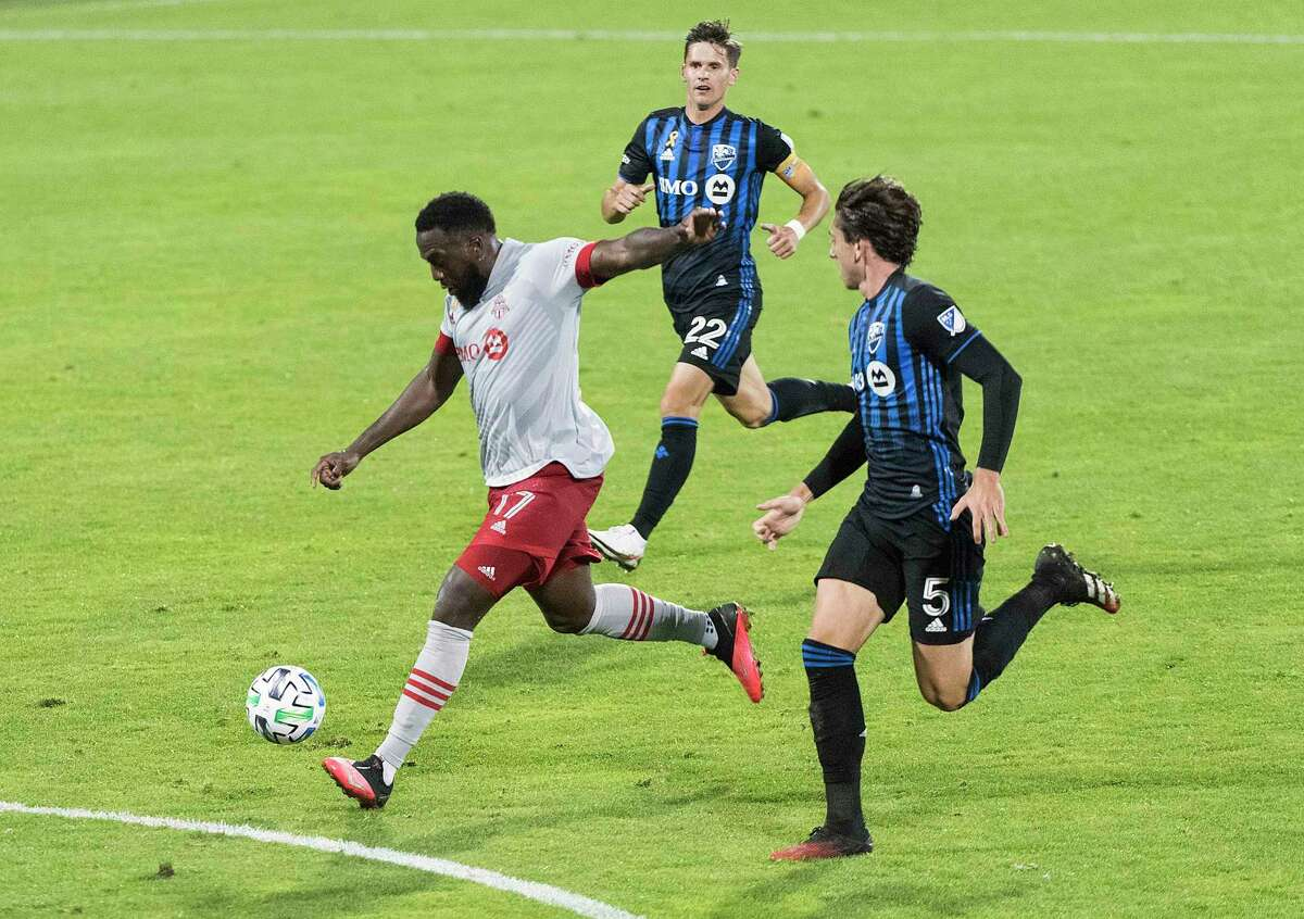 Jozy Altidore (17) scores a goal against Montreal on Sept. 9. The U.S. national team star has played about half the minutes during the latest phase of the MLS season but has been cleared for Toronto FC's first game at Rentschler Field on Sunday night.