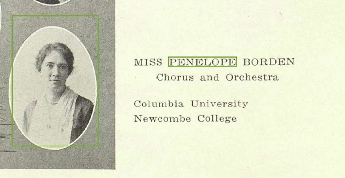 """Penelope """"Nellie"""" Borden is shown in La Retama, the yearbook of Brackenridge High School, where she served as music director for almost a decade around the 1920s. At the time, she also was music editor at the San Antonio Express."""