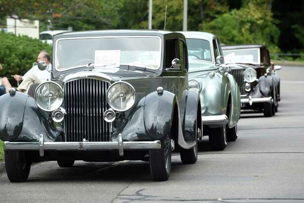 A line of antique cars on display at a classic car show at Evergreen Woods in Branford on September 26, 2020.