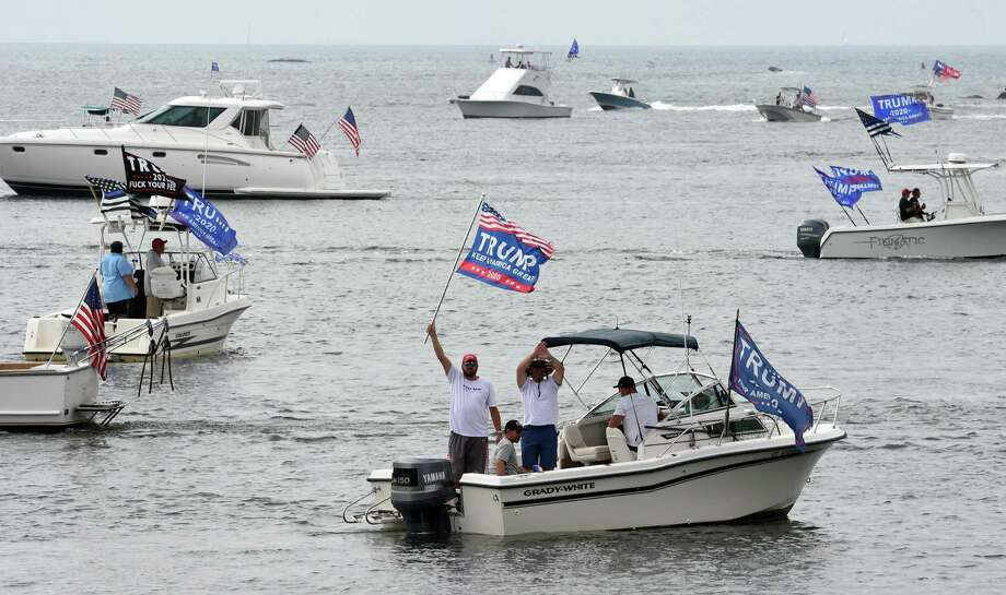 A Boaters for Trump and Blue Lives Matters Boat Parade begins at Branford Point on September 26, 2020. Boaters cruised the shoreline down to New Haven Harbor and back. Photo: Arnold Gold / Hearst Connecticut Media / New Haven Register