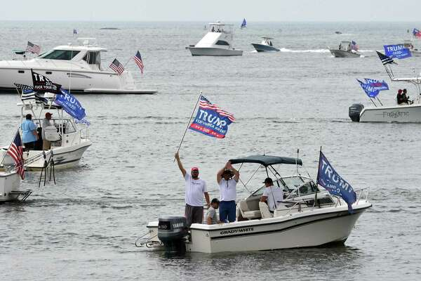 A Boaters for Trump and Blue Lives Matters Boat Parade begins at Branford Point on September 26, 2020. Boaters cruised the shoreline down to New Haven Harbor and back.