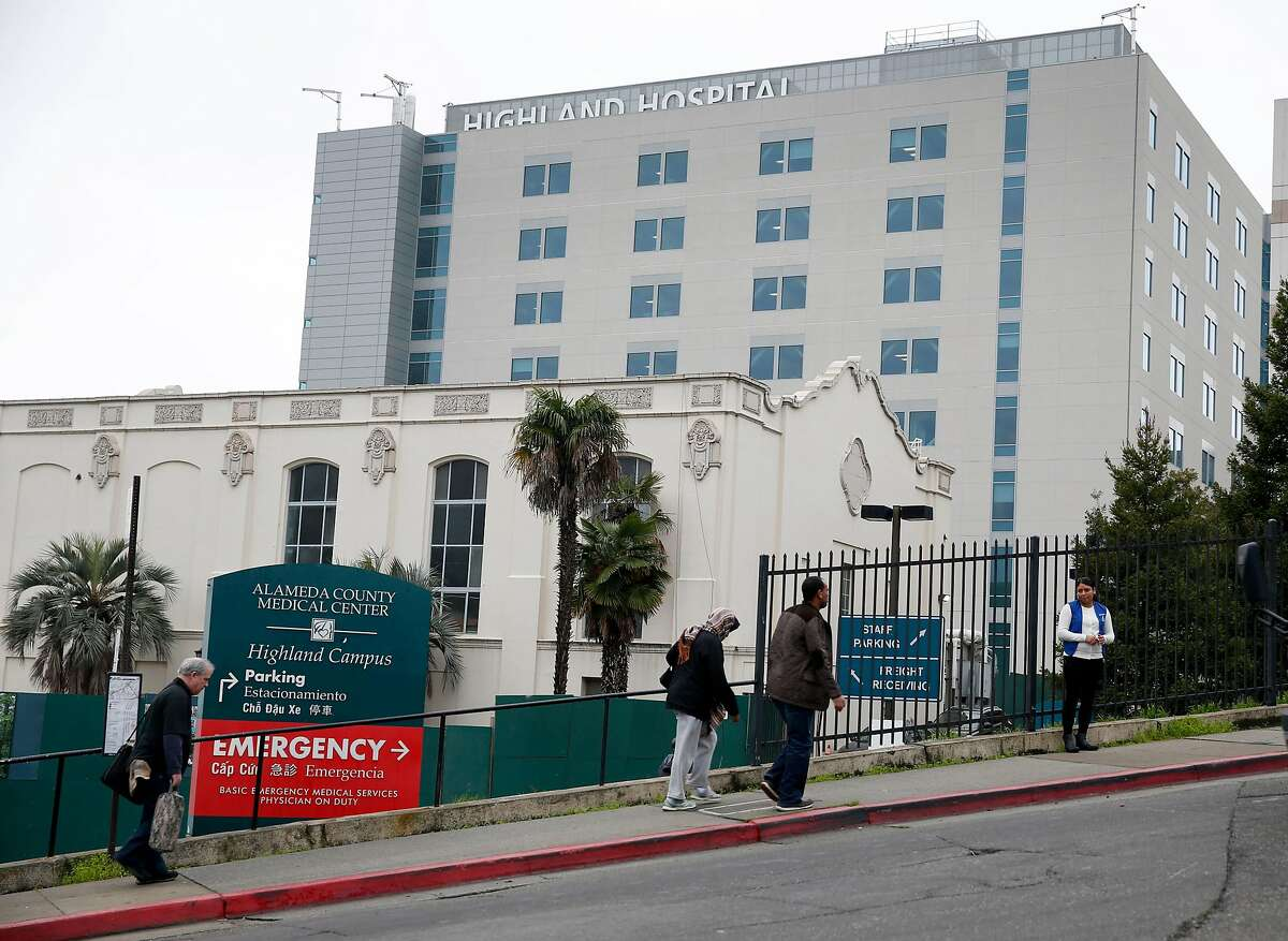 Highland Hospital in Oakland, seen in this January 2016 file photo, is one of the targets of a strike authorized by health care worker unions.
