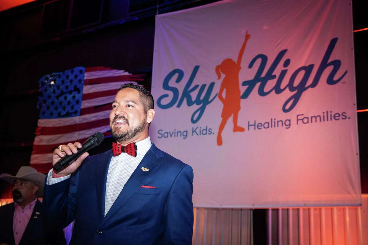 Event Chairman Michael Arispe speaks during the Sky High for Kids Permian Basin Banquet benefitting pediatric cancer research and family comfort programs September 18, 2020 at Odessa-Schlemeyer Field. The fourth annual banquet and sporting clay tournament raised $530,000. MANDATORY CREDIT: The Oilfield Photographer, Inc.