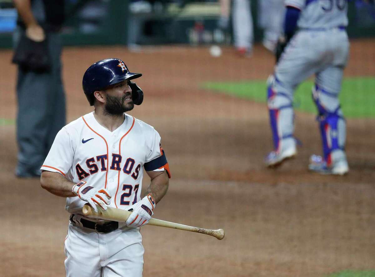 Jose Altuve, after striking out earlier this season, is one of four Astros with sub-.800 OPS.