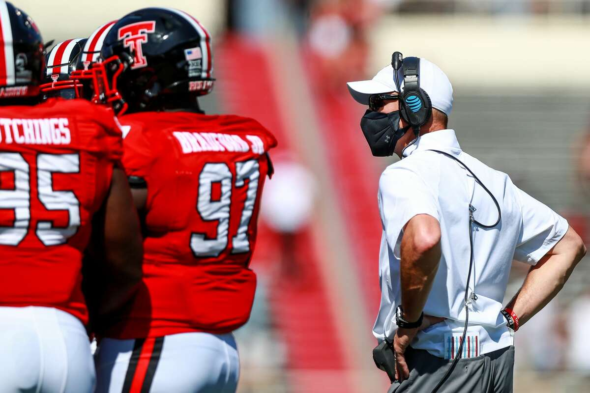 LUBBOCK, TEXAS - SEPTEMBER 26: Head coach Matt Wells of the Texas Tech Red Raiders looks on during a timeout during the first half of the college football game against the Texas Longhorns on September 26, 2020 at Jones AT&T Stadium in Lubbock, Texas. (Photo by John E. Moore III/Getty Images)
