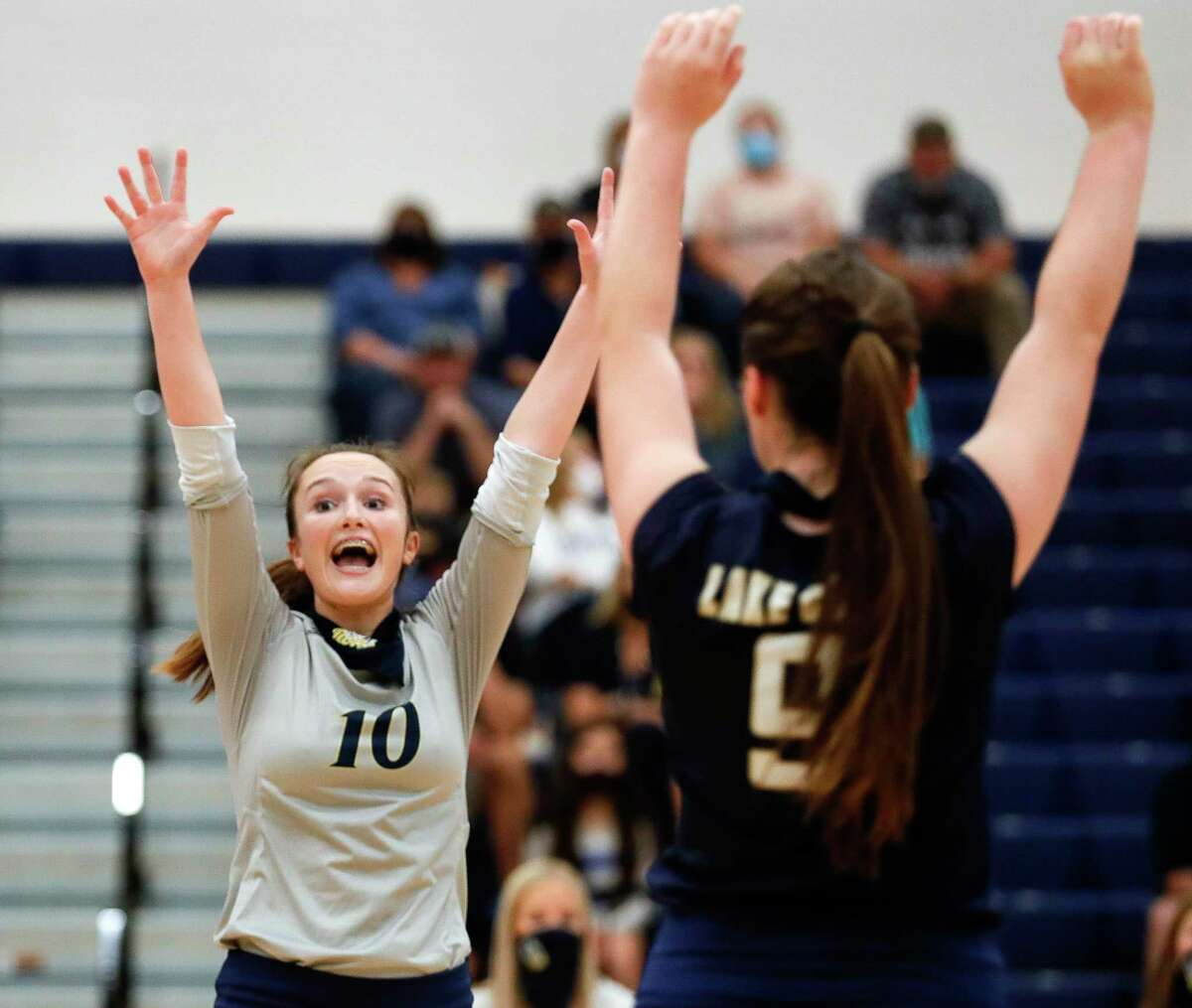 Lake Creek setter Lauren Greene (10) reacts after a point during the first set of a non-district high school volleyball match at Lake Creek High School, Tuesday, Sept. 15, 2020, in Montgomery.