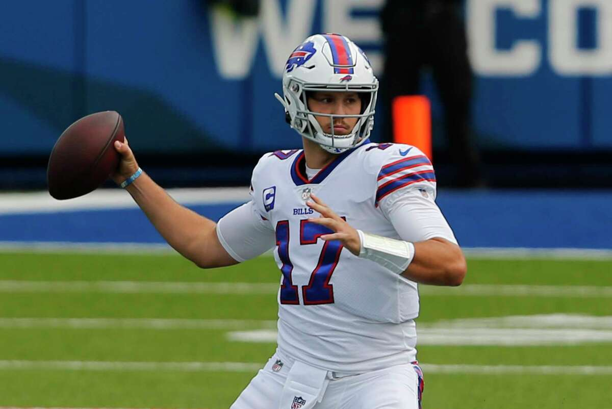 Buffalo Bills quarterback Josh Allen (17) throws a pass during the first half of an NFL football game against the New York Jets in Orchard Park, N.Y., Sunday, Sept. 13, 2020. (AP Photo/Jeffrey T. Barnes)