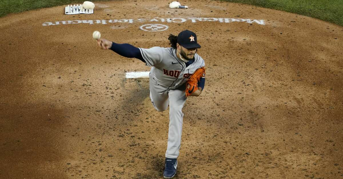 Houston Astros starting pitcher Lance McCullers Jr. throws to the Texas Rangers in the fourth inning of a baseball game in Arlington, Texas, Saturday, Sept. 26, 2020. (AP Photo/Tony Gutierrez)