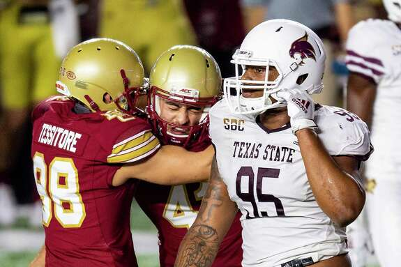 CHESTNUT HILL, MA - SEPTEMBER 26: Aaron Boumehri #41 of the Boston College Eagles celebrates after kicking the game winning field goal during the second half of a game against the Texas State Bobcats at Alumni Stadium on September 26, 2020 in Chestnut Hill, Massachusetts. (Photo by Billie Weiss/Getty Images)