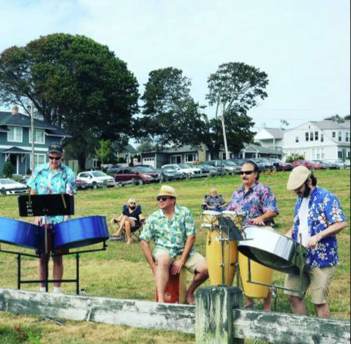Performers playing in Woodmont for the Milford Arts Council.