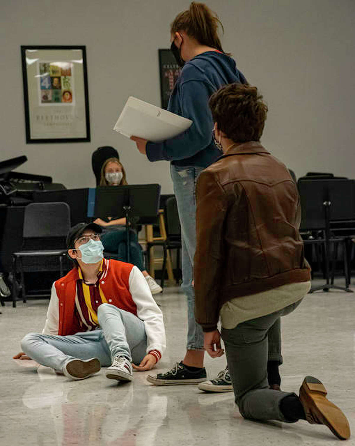 Edwardsville High School students practice a scene Friday afternoon for the theatre department's upcoming fall production, A Midsummer Night's Dream.