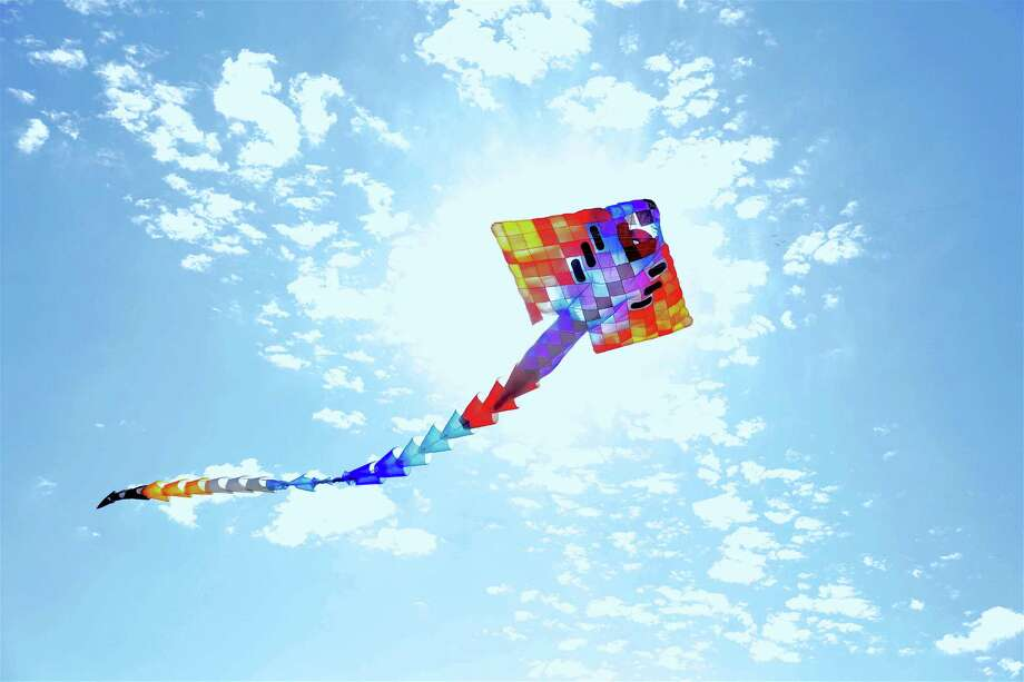 The enormous 50-foot manta ray kite flies high at the ShoreFest on a Roll event at Sherwood Island State Park on Sunday, Sept. 20, 2020, in Westport, Conn. Photo: Jarret Liotta / Jarret Liotta / ©Jarret Liotta 2020
