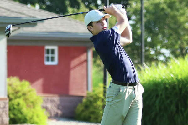 Father McGivney freshman Joey Hyten, shown watching his drive on the first hole at Belk Park at the Hickory Stick Invite on Aug. 17 in Wood River, shot a career-best 69 Saturday at Fox Creek to rally from four shots back to win the two-day, 36-hole Dick Gerber Invite in Edwardsville.