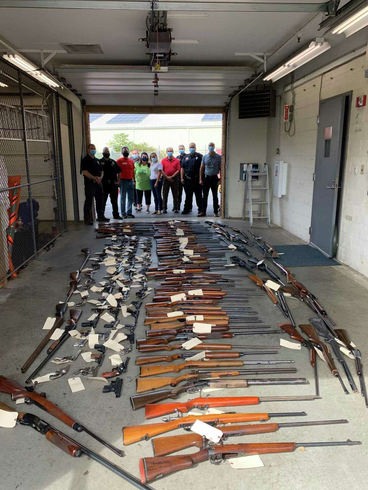 The Guilford Police Department collected 198 guns during its second annual guy buy-back and safe firearm storage event, held Saturday, Sept. 26, in conjunction with the Ethan Miller Strong Foundation and Swords to Plowshares Northeast.