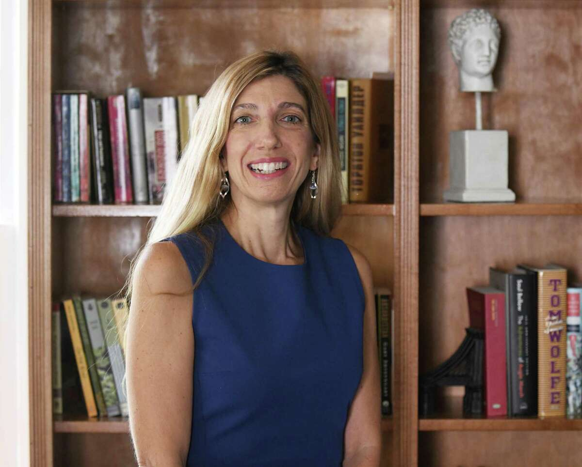 Kathleen Stowe, the Democratic candidate for State Representative for District 149, poses at her home in Greenwich, Conn. Wednesday, Sept. 16, 2020.