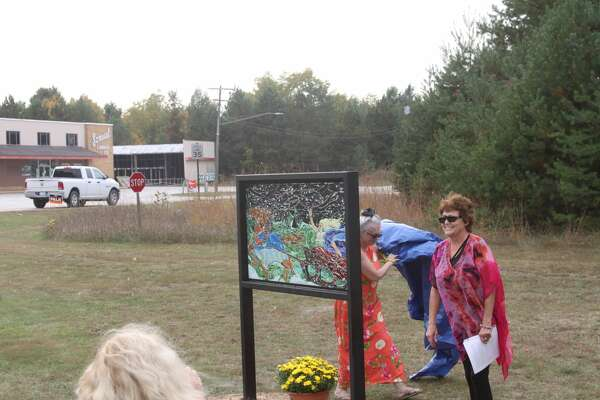 Tricia Boucha unveiled the first mosaic in her three-part series based on Finnish mythology on Saturday.