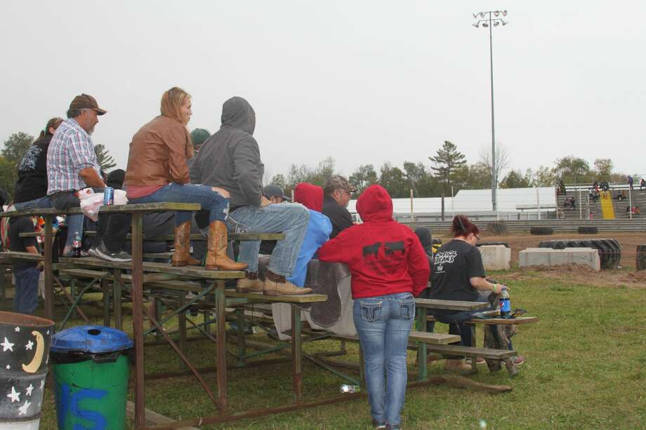 Roughly 100 people turned out to watch the State Championship Demolition Derby on Saturday despite the poor forecast. Photo: Erin Glynn/Manistee News Advocate