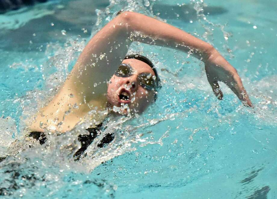 New Haven, Connecticut -Sunday, November 24, 2019: Claire Kehley of Lauralton Hall swims to victory in the third heat of the 500 Yard Freestyle during the CIAC State Open Girls Swimming Championship Sunday at Yale University in New Haven. Photo: Peter Hvizdak, New Haven Register / Hearst Connecticut Media / New Haven Register