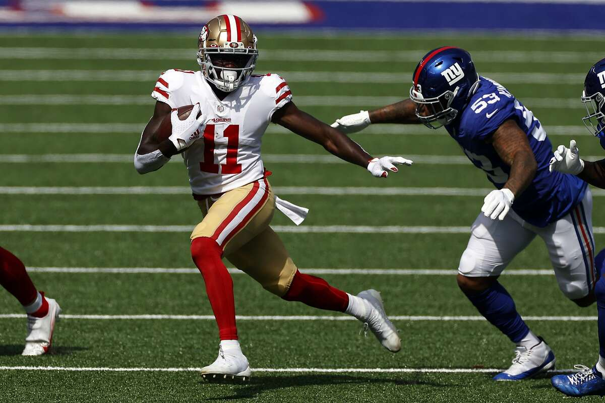 San Francisco 49ers wide receiver Brandon Aiyuk (11) in action against the New York Giants during an NFL football game, Sunday, Sept. 27, 2020, in East Rutherford, N.J.
