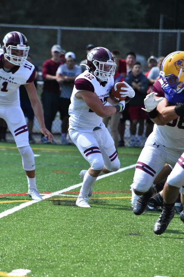 Middletown grad and Springfield College standout Hunter Belzo has signed a deal to play football with the Idaho Horsemen of the American West Football Conference arena league. Photo: Springfield College / Contributed Photo