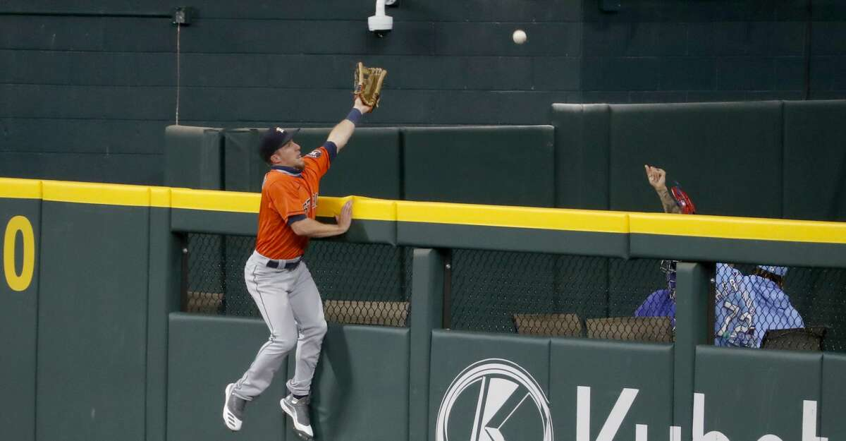 A home run during the fifth inning of a baseball game against the Texas Rangers in Arlington, Texas, Sunday, Sept. 27, 2020. (AP Photo/Roger Steinman)