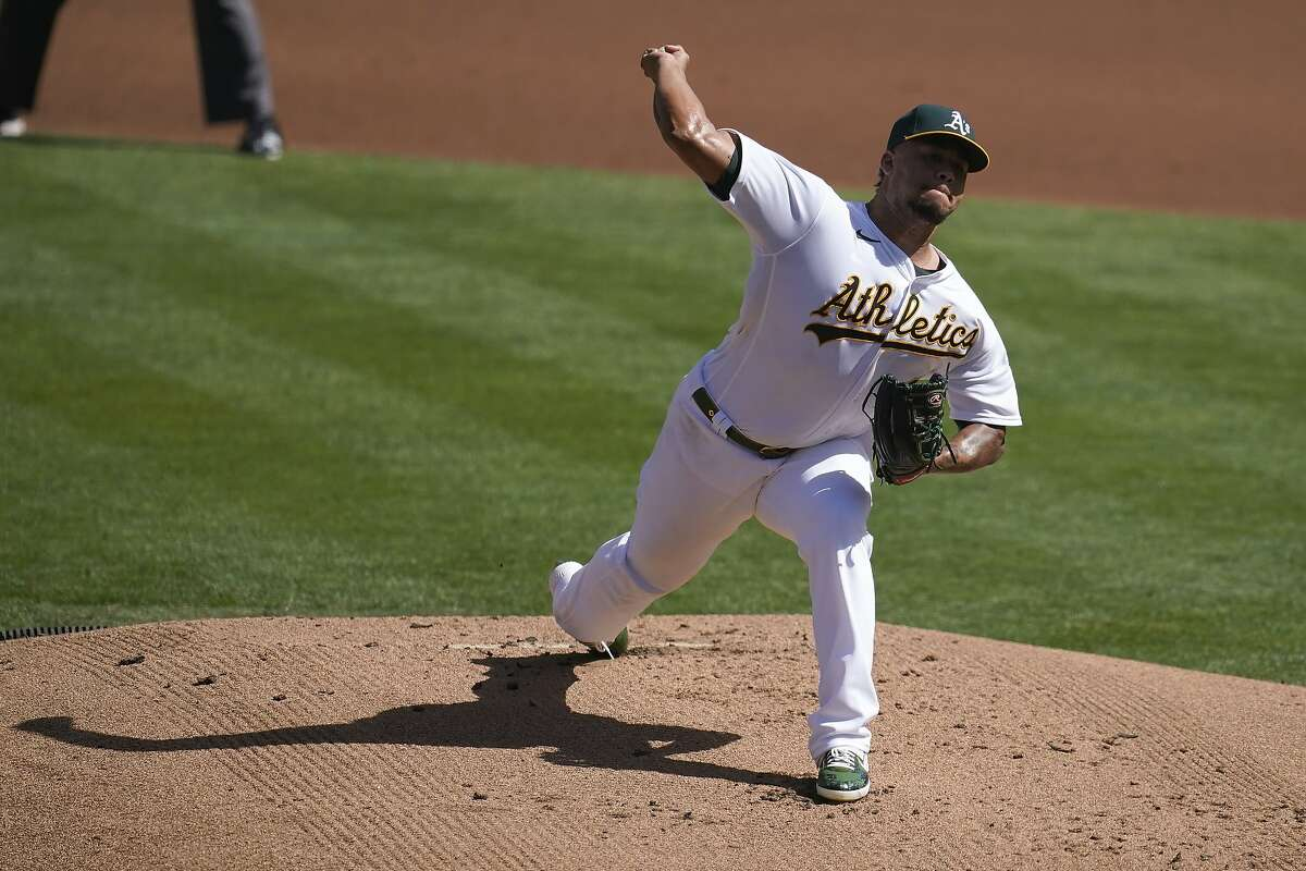 A's pitcher Frankie Montas during the first inning of the A's win over the Mariners.