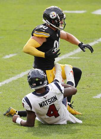 Pittsburgh Steelers outside linebacker T.J. Watt (90) celebrates after sacking Houston Texans quarterback Deshaun Watson (4) during the fourth quarter of an NFL football game at Heinz Field on Sunday, Sept. 27, 2020, in Pittsburgh. Photo: Brett Coomer/Staff Photographer / © 2020 Houston Chronicle