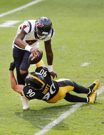 Pittsburgh Steelers outside linebacker T.J. Watt (90) sacks Houston Texans quarterback Deshaun Watson (4) during the fourth quarter of an NFL football game at Heinz Field on Sunday, Sept. 27, 2020, in Pittsburgh. Photo: Brett Coomer/Staff Photographer / © 2020 Houston Chronicle