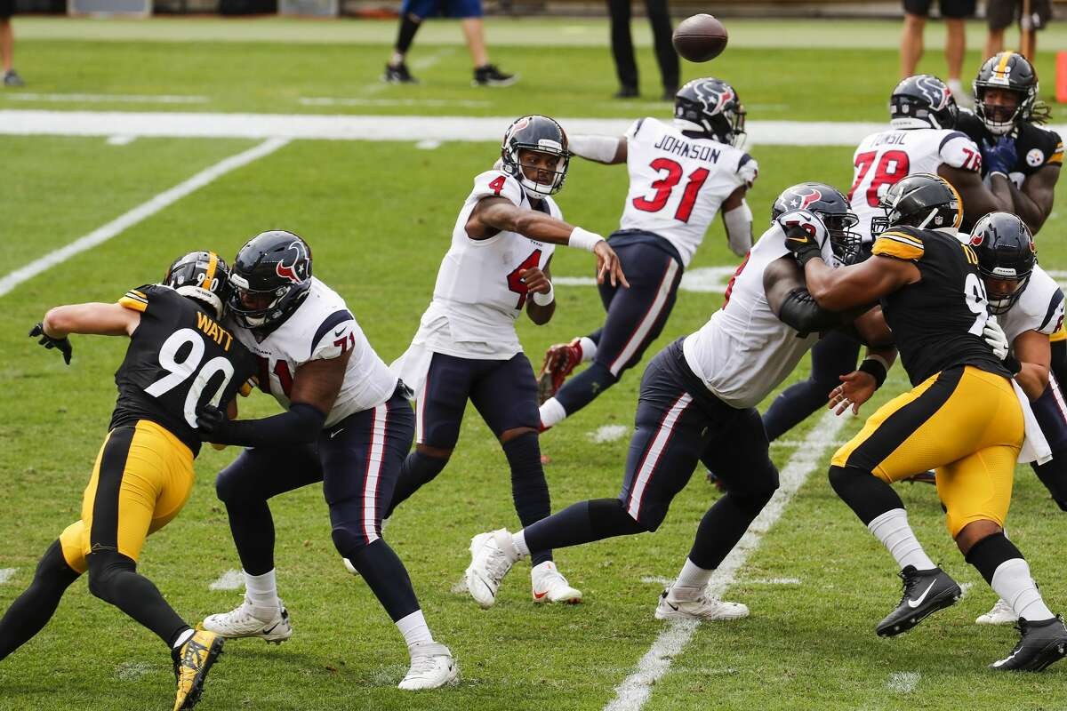Houston Texans quarterback Deshaun Watson (4) makes a throw against the Pittsburgh Steelers during the first half of an NFL football game at Heinz Field on Sunday, Sept. 27, 2020