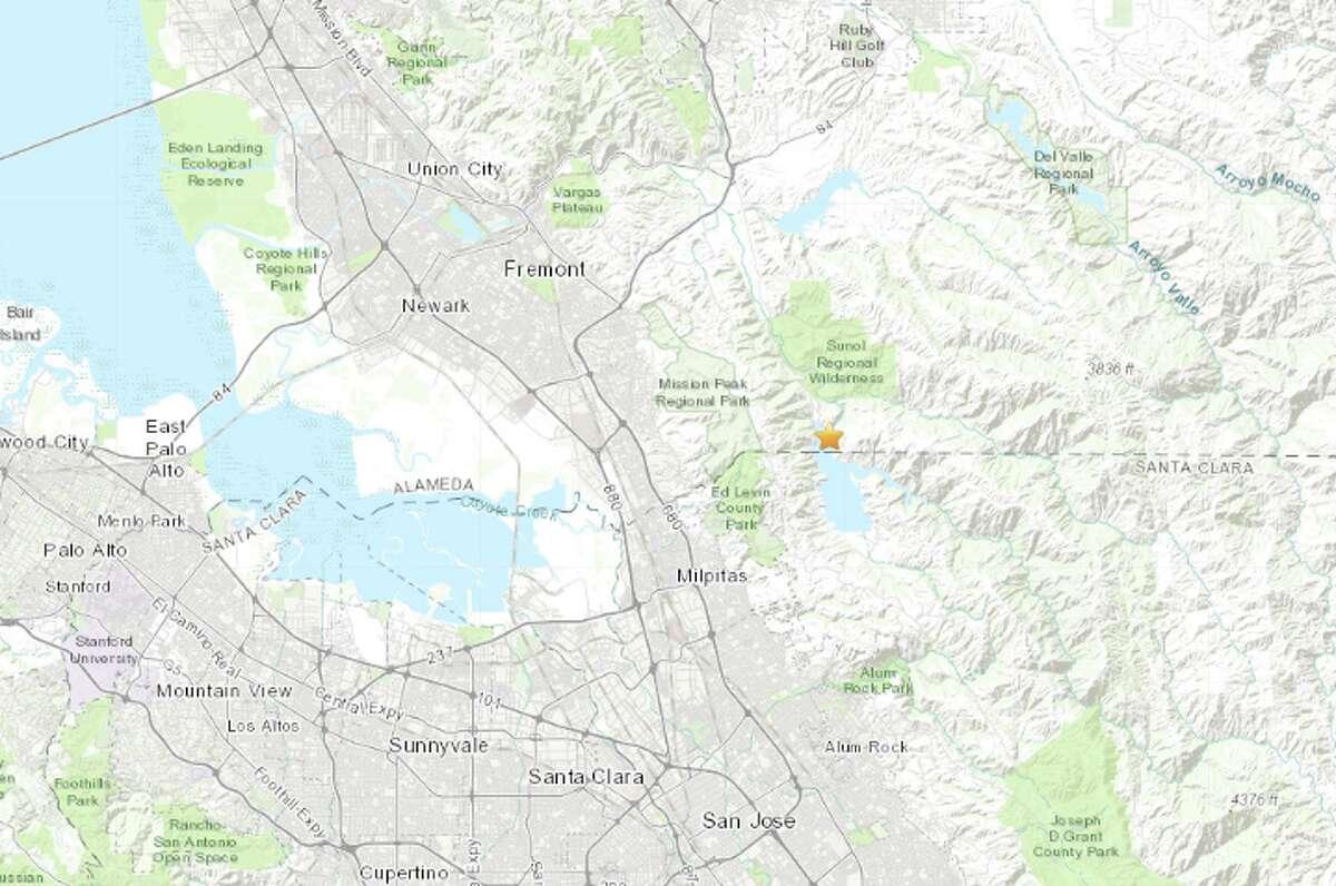 The USGS map showed the quake's epicenter at Calaveras Reservoir south of Sunol Regional Wilderness.
